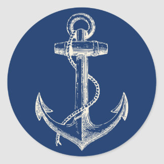 Anchor Nautical Sticker Decor Navy Blue White
