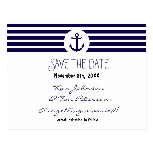 Anchor Nautical Striped Postcard Save The Date