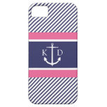 Anchor & Nautical Stripes & Monogram Navy &Pink iPhone 5 Case