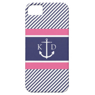 Anchor & Nautical Stripes & Monogram Navy &Pink iPhone SE/5/5s Case