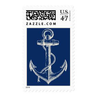 Anchor Nautical USA Postage Gift Navy Blue White