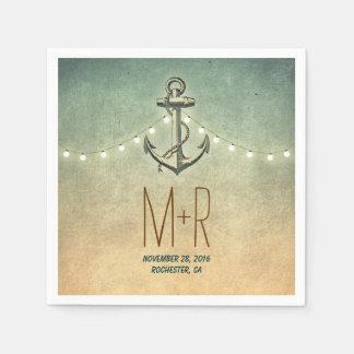 anchor nautical wedding paper napkin