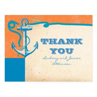 Anchor Nautical Wedding Thank You Postcards