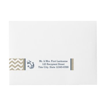 Beach Themed Anchor Navy Blue and Burlap Zigzag Wrap Around Address Label