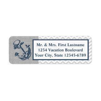 Anchor Navy Blue and Grey Zig Zag Label