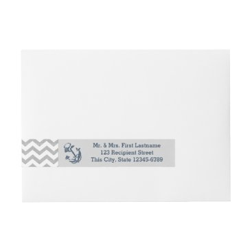 Beach Themed Anchor Navy Blue and Grey Zigzag Wrap Around Address Label