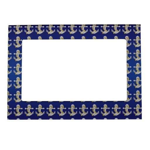 anchor navy blue frame magnet zazzle. Black Bedroom Furniture Sets. Home Design Ideas