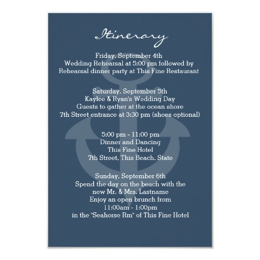 Anchor Navy Blue Intinerary Customized Announcement Card