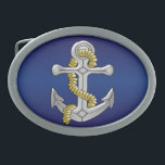 "Anchor Navy Blue Oval Belt Buckle<br><div class=""desc"">Anchor Design Belt Buckle. This fun anchor design makes a great gift for any sailor. Customize with any text of your choice. Design by justbyjulie</div>"