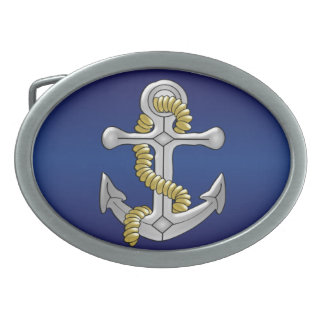 Anchor Navy Blue Oval Belt Buckle