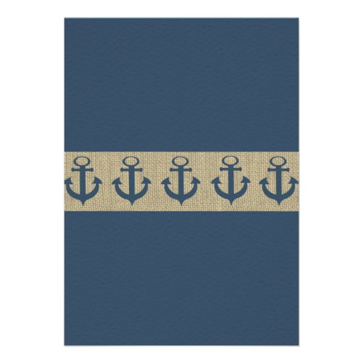 Anchor Navy Blue Stripes Baby Shower Card