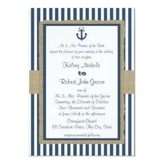 Anchor Navy Blue Stripes Beach Wedding Card