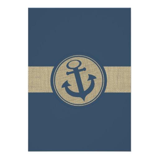 Anchor Navy Blue Stripes Beach Wedding Personalized Invitation