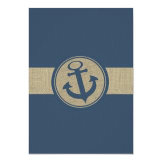 "Anchor Navy Blue Stripes Beach Wedding 5"" X 7"" Invitation Card"