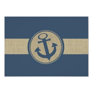 Anchor Navy Blue Stripes Beach Wedding Response 5x7 Paper Invitation Card