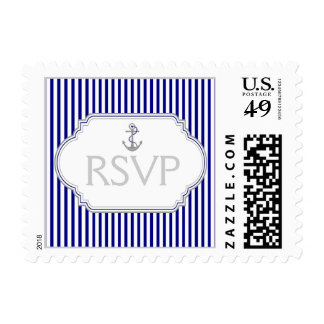 Anchor navy blue, white nautical wedding RSVP Postage Stamps