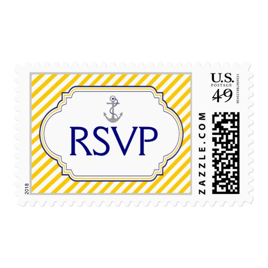 Anchor navy blue, yellow nautical wedding RSVP Postage