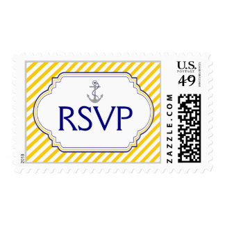 Anchor navy blue, yellow nautical wedding RSVP Postage Stamp