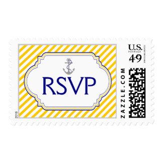 Anchor navy blue, yellow nautical wedding RSVP Postage Stamp
