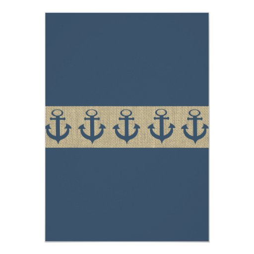 Anchor Navy Blue ZigZag Baby Shower Personalized Announcements