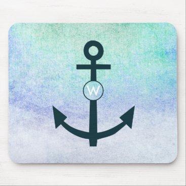 Beach Themed Anchor Navy Nautical Beach Teal Monogram Aqua Mouse Pad