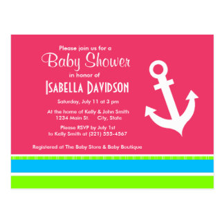 Anchor; Neon Stripes; Pink Blue Green Postcard