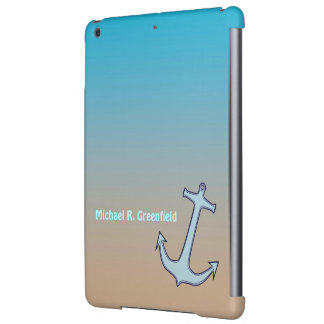 Anchor on Aqua and Tan Personalized iPad Air Case