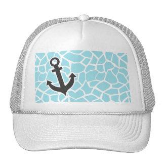 Anchor on Blizzard Blue Giraffe Animal Print Hats