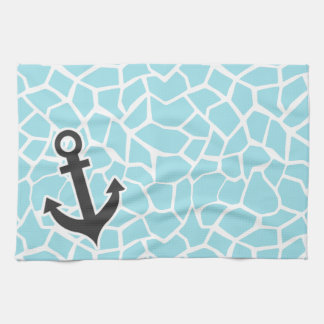 Anchor on Blizzard Blue Giraffe Animal Print Kitchen Towel