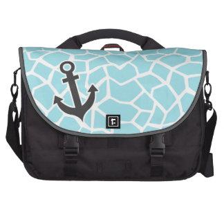 Anchor on Blizzard Blue Giraffe Animal Print Laptop Bags