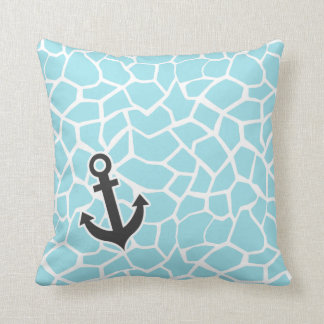 Anchor on Blizzard Blue Giraffe Animal Print Throw Pillow