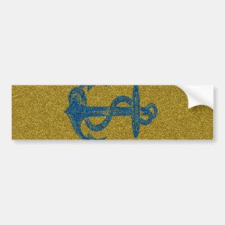 anchor on blue and gold glitter effect bumper sticker