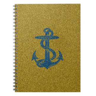 anchor on blue and gold glitter effect note books