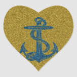 anchor on blue and gold glitter effect heart stickers