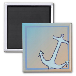 Anchor on Blue and Tan Magnet