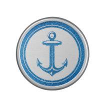 Anchor on Blue Graphic Glitter Pattern Speaker