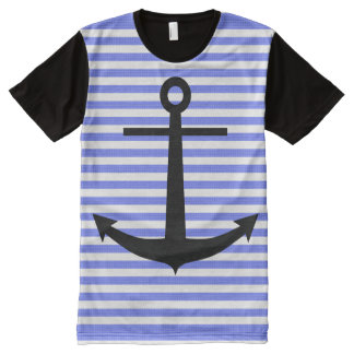 Anchor on blue stripes All-Over print shirt
