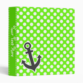 Anchor on Bright Green Polka Dots Vinyl Binder