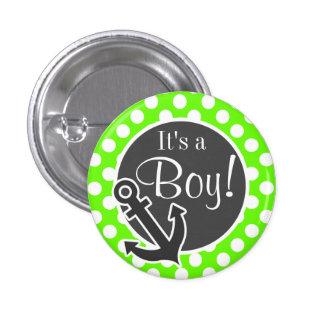 Anchor on Bright Green Polka Dots Button