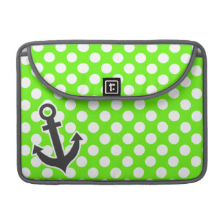 Anchor on Bright Green Polka Dots Sleeve For MacBooks