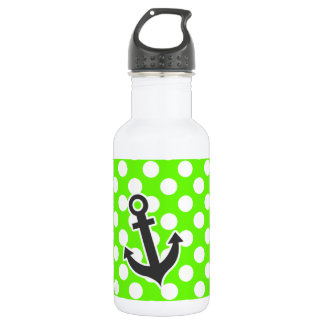 Anchor on Bright Green Polka Dots Stainless Steel Water Bottle