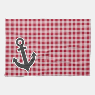 Anchor on Carmine Red Gingham; Checkered Hand Towels