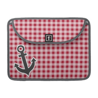 Anchor on Carmine Red Gingham; Checkered MacBook Pro Sleeve