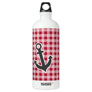 Anchor on Carmine Red Gingham; Checkered Water Bottle
