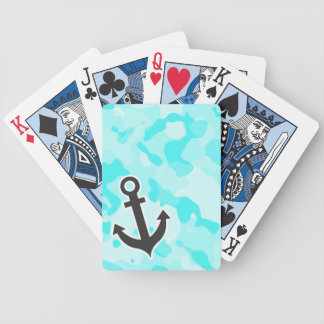 Anchor on Celeste Camo; Camouflage Bicycle Poker Deck