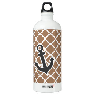 Anchor on Chamoisee Quatrefoil Water Bottle