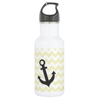 Anchor on Cream Chevron; zig zag Stainless Steel Water Bottle