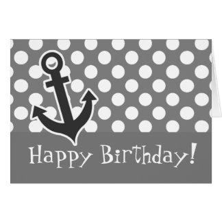 Anchor on Dark Gray Polka Dots Greeting Card