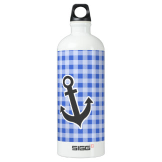 Anchor on Han Blue Gingham Aluminum Water Bottle