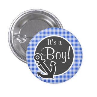 Anchor on Han Blue Gingham Pinback Buttons